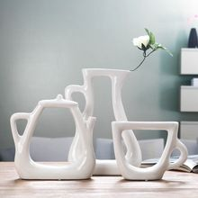Ceramica di modo creativo astratto flower vase vaso home decor craft room decoration artigianato porcellana per tè e caffè set figurine(China (Mainland))