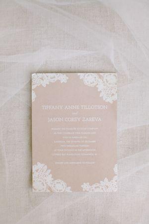 kraft and lace wedding invitation