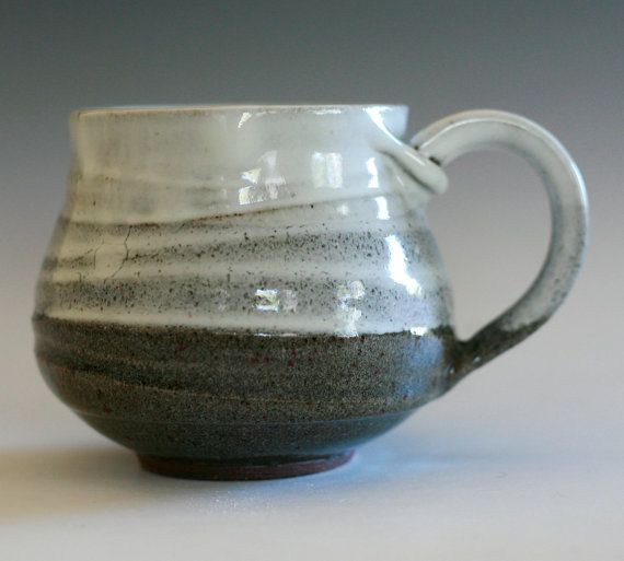 """3 tall, 3.5"""" opening, holds 14 oz    Glazed in gray and white.    All of my glazes are high fired, food, dishwasher and microwave safe."""