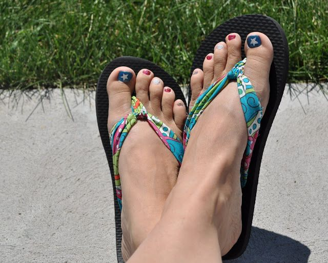 Great Summer Fashion DIY – Make Your Own Fabric Flip-Flops You just need a cheap pair of flip-flops and you can normally find some at the Dollar Store for around $1. Just take out the plastic strap and then add the fabric.