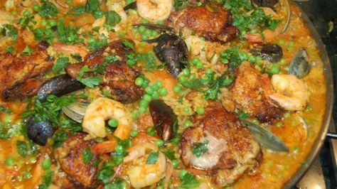 In this version of the classic Spanish dish, chicken, chorizo sausage, and shrimp combine with rice simmered in broth and flavored with saffron threads, garlic, onions, red pepper flakes, paprika, and bay leaf.
