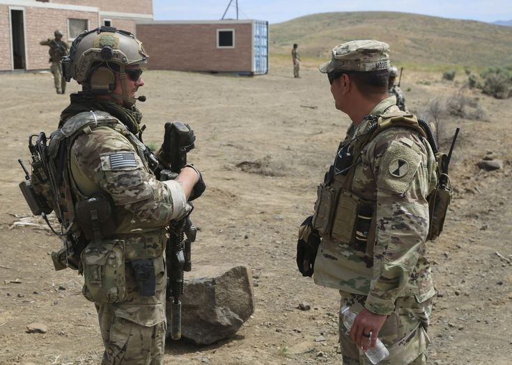 Members of the 1st Special Forces Group (A) cunducted a Key Leader Engagement during training exercise Bayonet focus 2017 at Yakima training center, WA, June 17, 2017. The KLE was conducted to enhance training with 1 SFG(A) and 7th infantry Division. (Photo Credit: U.S. Army photo by Sgt. Codie Mendenhall)