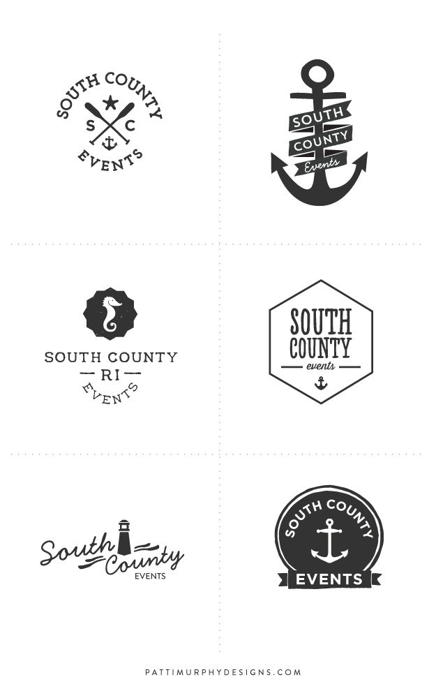 Ocean Inspired Logo Exploratory - Patti Murphy Designs - logo - logo design - branding - logo mark - anchors - sea theme - circle marks - anchor logo