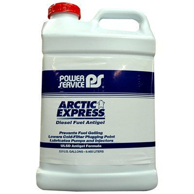 Power Service Arctic Express Diesel Fuel Antigel 2.5 Gallon  Arctic Express® Diesel Fuel Antigel provides better cold weather operability than blending with kerosene or No. 1 diesel fuel and costs 80 percent less. Arctic Express® not only modifies the shape and size of wax crystals which fall out of solution as the temperature decreases, but also prevents the wax crystals from settling to the bottom of fuel tanks during storage. Arctic Express® lowers the CFPP of No. 2 diesel fuel as..