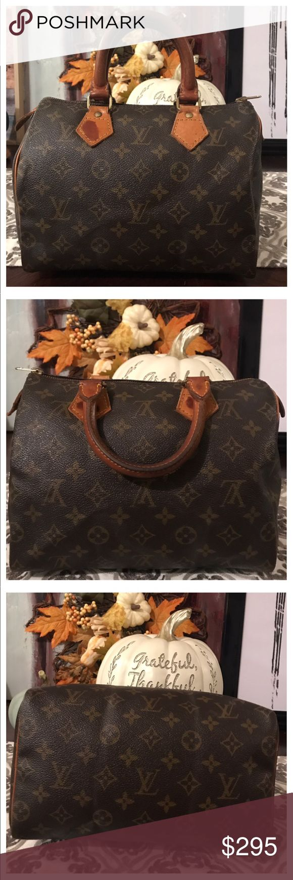 "AUTHENTIC LOUIS VUITTON SPEEDY 35 100% Authentic Louis Vuitton Speedy 25. Monogram canvas has no scratches or tears. Vachetta leather shows stains. Handles are in good shape, some dark patina on top. Piping is intact. Zipper works properly. Zipper pull tag is missing. Inside and pocket is in good condition. W9.84""xH7.48""xD5.90"" No trades Date code 894 FC Louis Vuitton Bags Satchels"