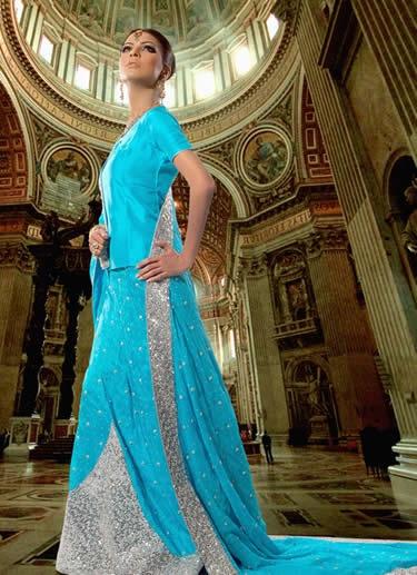 Pakistaanse jurk blauw/zilver
