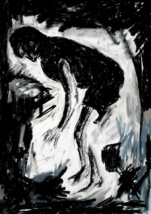 Fetch me this, Oil Pastel drawing by Lopéz García  Dramatic strokes help García express emotion and add a feeling of movement to his works.  It is an expressive and explosive drawing.  Oil pastels on paper (42 x 30 cm)