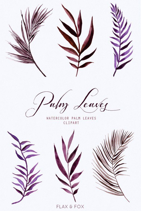 Purple Burgundy Palm Leaves Watercolor Elements Hand Painted