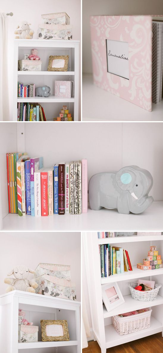 Soft pink and gray nursery-- bookcase by target, keepsake book by two freckles, room design by Hillary at Brocade Designs, photography by Jenna Henderson
