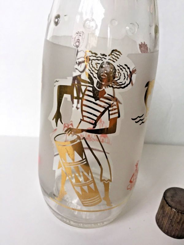 VTG Decanter Liquor Bottle Tropical Island Palm Trees 60's Bar Retro Tiki Party