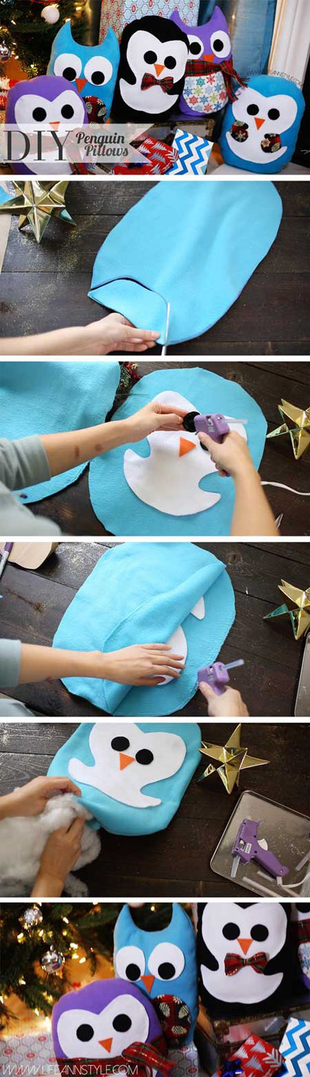 17 adorable DIY pillow ideas to sew yourself! These cute little penguins would make great winter decorations or would also appropriate for a child's bedroom.