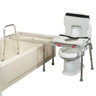 Super Long Toilet Tub Transfer Bench. Pinned by OTtoolkit.com. Treatment plans and patient handouts for the OT working with physical disabilities and geriatrics.