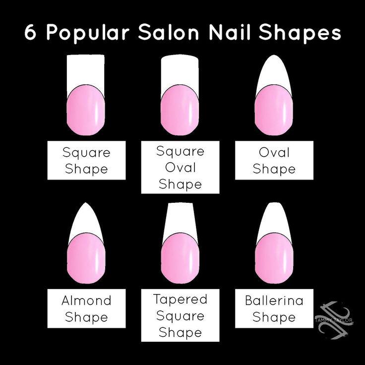 Tammy Taylor 6 Popular Salon Nail Shapes! Square Nails, Square Oval Nails, Oval Nails, Almond Nails, Tapered Square Nails, and Ballerina Nails / Coffin Nails.