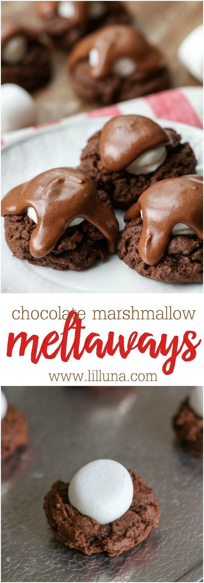 Chocolate Marshmallow Meltaways - soft, chocolate cookies topped with a marshmallow and delicious chocolate frosting.