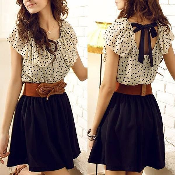 Fashion O Neck Cap Sleeve Short Sleeve Waist Cotton Mini Dress