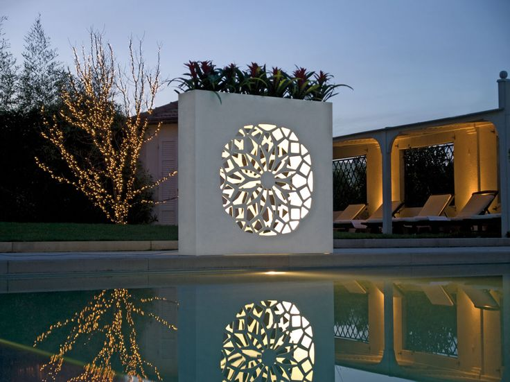 BLOEM flower box by #Bysteel - Perforated, light-emitting flower box in natural stainless steel or matt white lacquered aluminum. Designer : @bysteel
