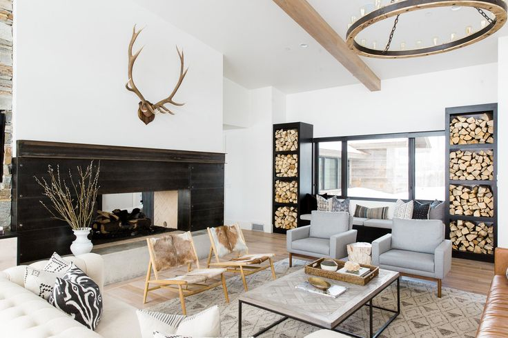 Modern Mountain Home: Living Room, Antlers || Studio McGee