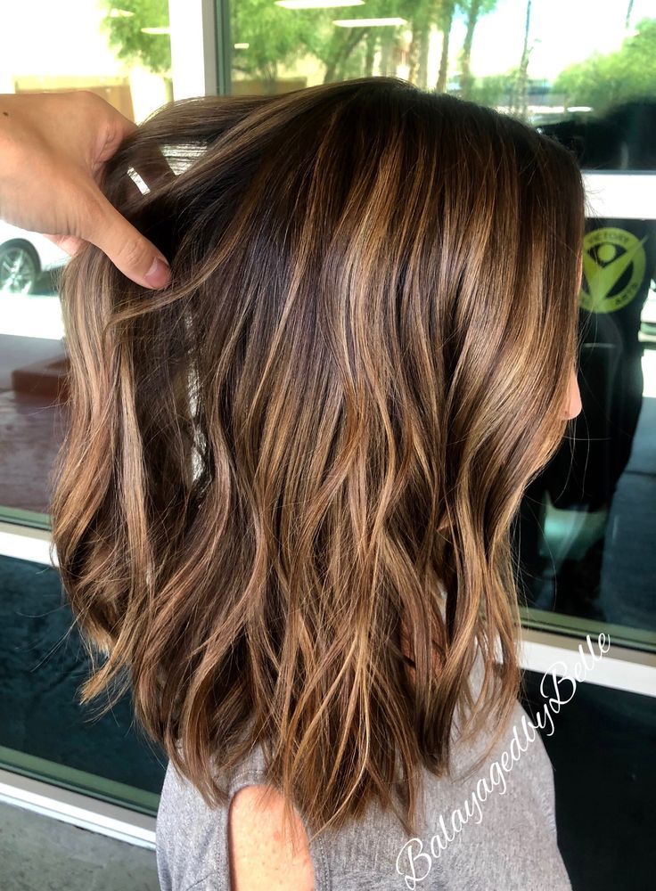 Golden Brown Balayage Warm Brown Highlights Brunette Lob