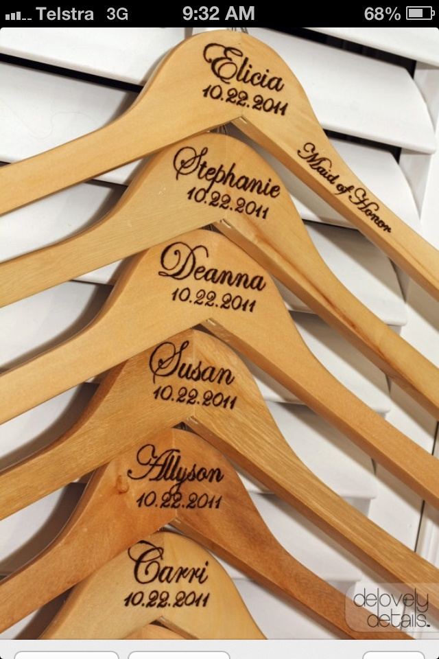 Coat Hangers for the Bridesmaids and Maid of Honour