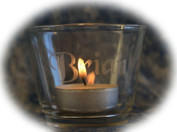 #Teelichthalter mit Personalisierter #Gravur  #Lasergravur #Geschenk