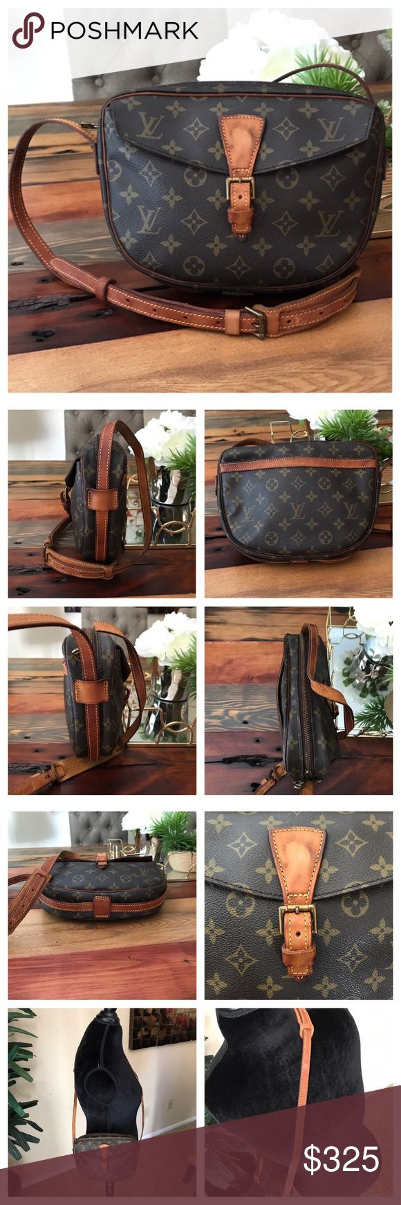 "Authentic Louis Vuitton Jeune Fille GM 100% Authentic Louis Vuitton Jeune Fille GM.   Monogram canvas has no scratches or tears.  Piping has cracks.  Leather has wear and cracks.  Stitching is good.  Hardware is tarnished.  Strap has cracks and stitching is good.   Inside is clean.  Buckle strap has cracks.  Pocket has been cleaned.  No peeling or sticky.  W10.6xH8.2xD1.9"".  I do not trade. Louis Vuitton Bags Crossbody Bags"