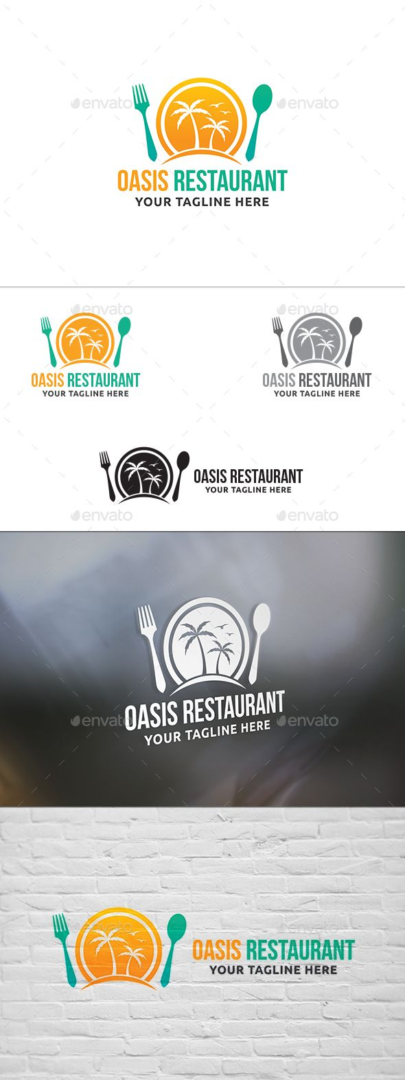 Oasis Restaurant Logo — Vector EPS #arabic food #oasis logo • Available here → https://graphicriver.net/item/oasis-restaurant-logo/14026501?ref=pxcr