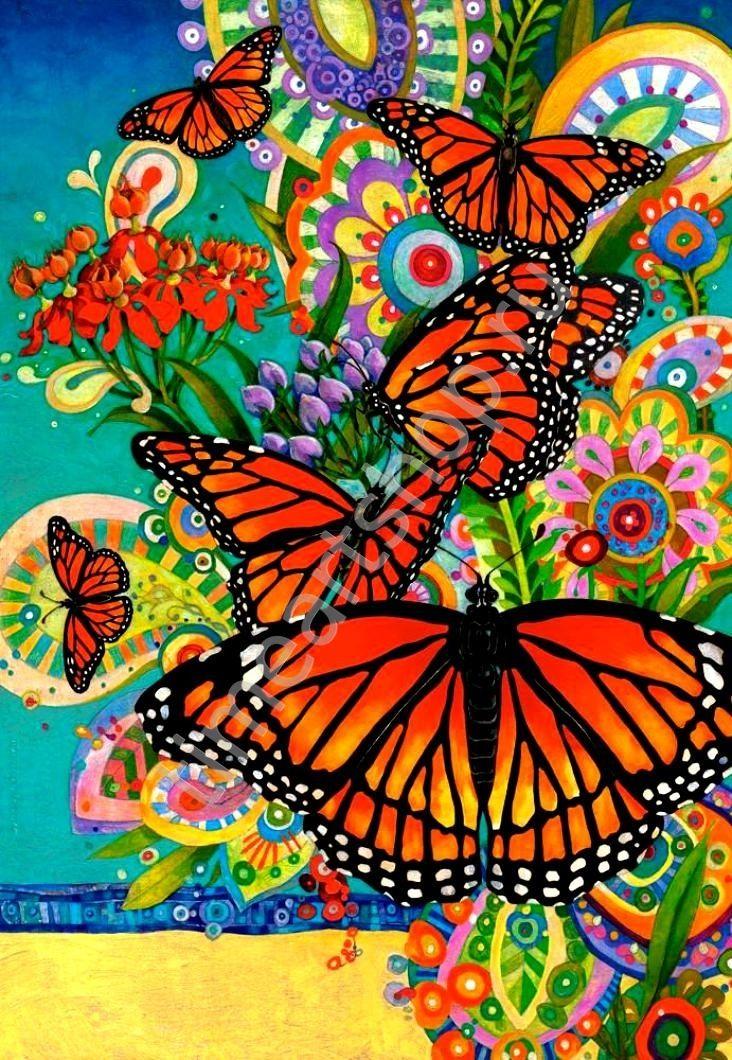 бабочки Монархи, картина раскраска по номерам, размер 40*50см, цена 750 руб.