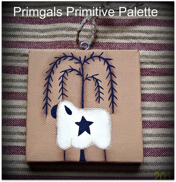 Primitive Sheep Willow Tree Mini Canvas Ornament Hang by Primgal