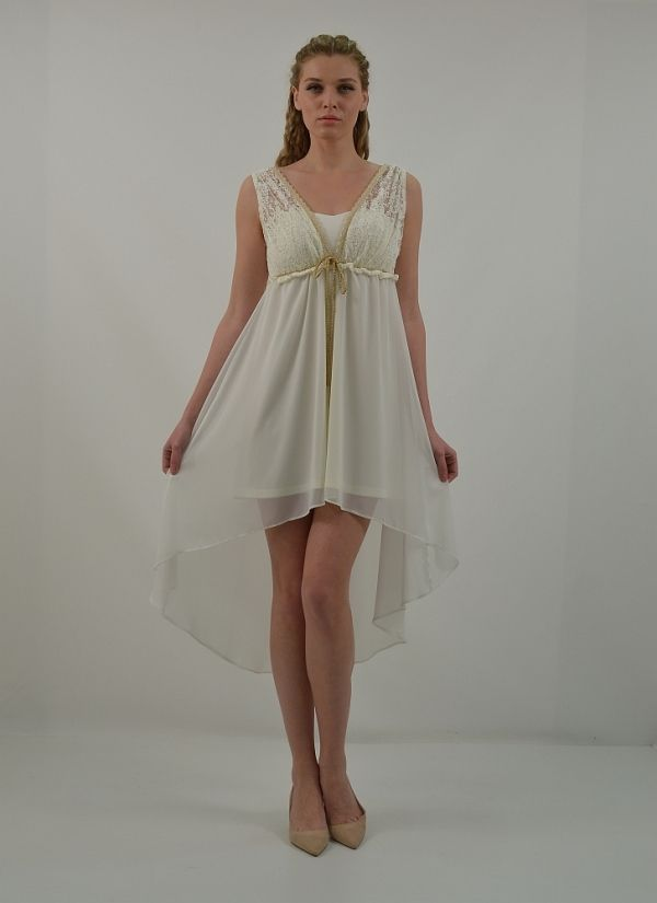 Φόρεμα κοντό, ασύμμετρο με φαρδύ ώμο