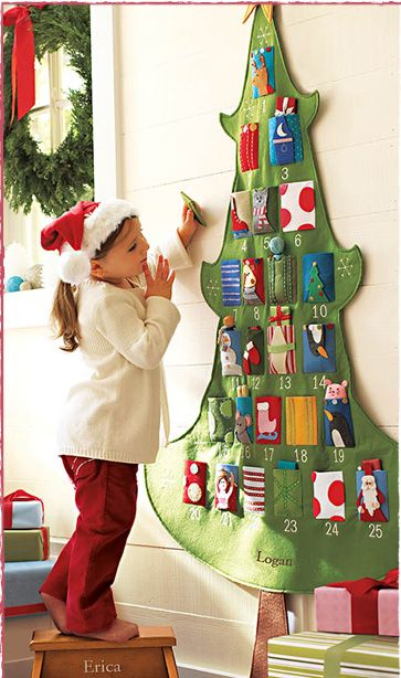 Advent Calendar (the link's expired, but pinning this for the idea to diy) Grandkids are needed, but not too soon, so that we can make these. They are embroidered with their names at the bottom of the tree.