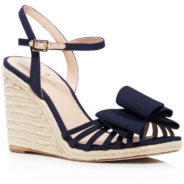 kate spade new york Biana Bow Espadrille Wedge Sandals found on Polyvore featuring shoes, sandals, heels, chaussures, wedges, navy, wedge espadrilles, espadrille sandals, navy heeled sandals and heeled sandals