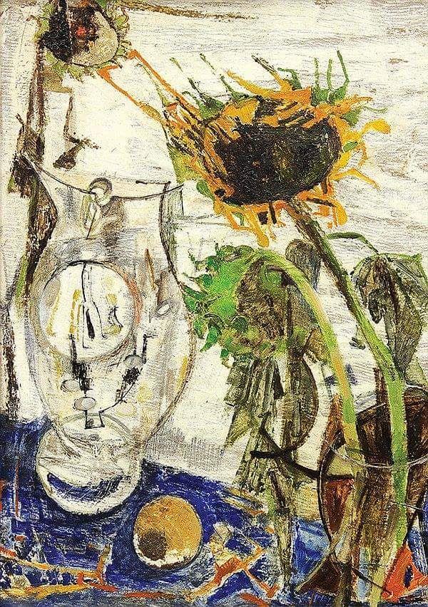 Fausto Pirandello (1899-1975) Still Life with Sunflower 1950