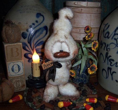 "Primitive Halloween Fuzzy Ghost Bear 9"" Doll ★ Vtg Patti's Ratties Monster Ornie"