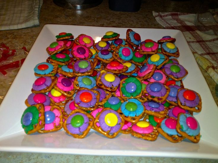 rainbow chocolate pretzels