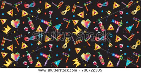 Purim jewish holiday pattern with traditional purim symbols, noisemaker, masque, gragger, hamantachhen cookies, crown, star of david, clown hat, festival decoration, carnival vector festive background