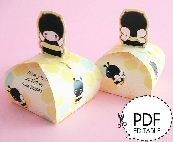 Honey Bee Mini Favor Box Printable PDF Download By JooSweetieToo Party Bumble
