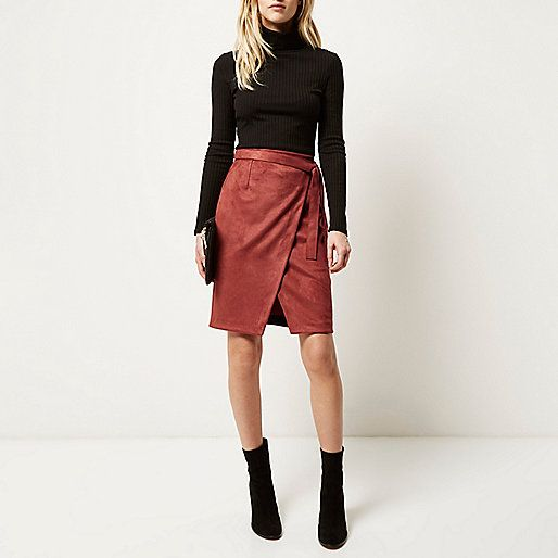 Rust brown faux suede wrap skirt