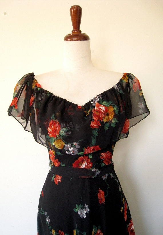 1970s SPANISH ROSE Off Shoulder Floral Chiffon Dress by LolaVintage, on Etsy.