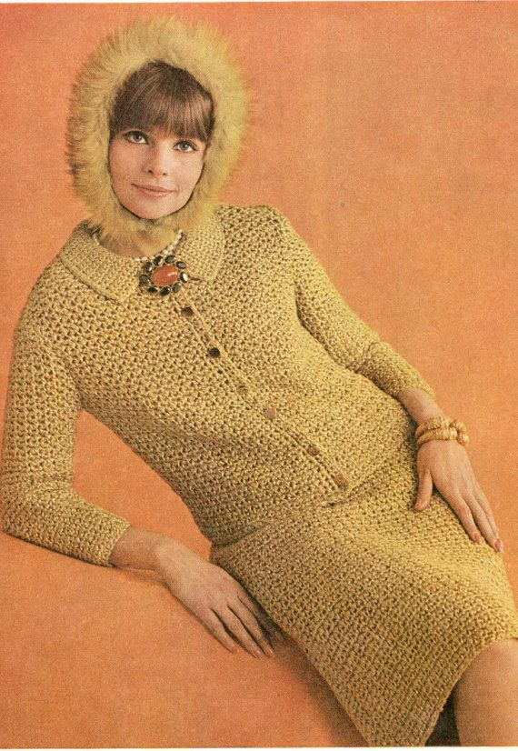 crochet pattern ladies 2 piece suit jacket by TheVintagePurlCo