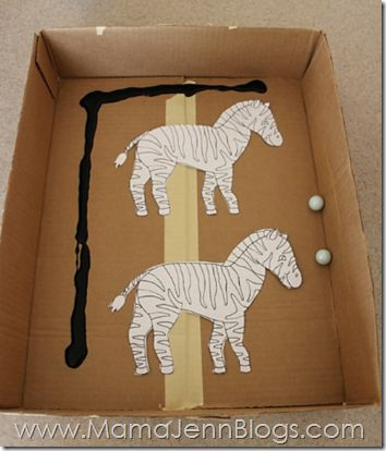 Zz for Zebra Craft- put the black paint alongside and above the zebra so that it makes stripes.