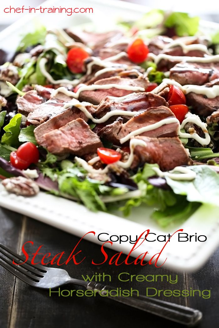 Copy Cat Brio Steak Salad with Creamy Horseradish Dressing on chef-in-training.com ...This is one salad you will want to make over and over ...