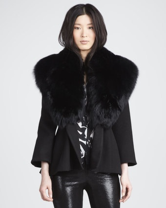 Kyah Faux-Fur-Collar Coat by Alice+Olivia