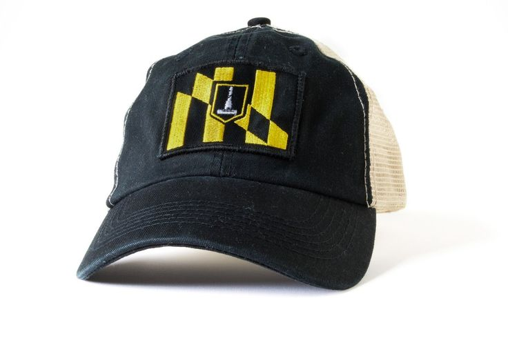 Baltimore baseball hat featuring a patch of the Baltimore city flag and a mesh back for a retro feel and contemporary fit.