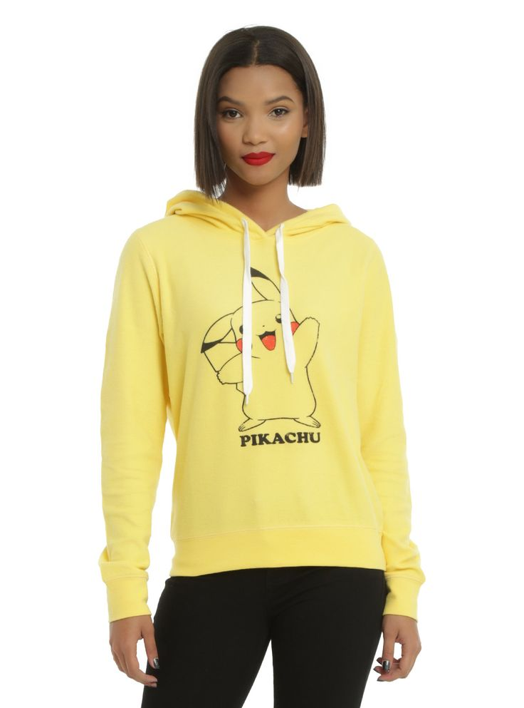 """He's a starter. He's electric. And he's the <i>Pokemon</i> mascot. This soft & fuzzy vibrant yellow pullover hoodie from <i>Pokemon</i> features the adorable little fella on the front. Drawstring hood. <br><ul><li style=""""LIST-STYLE-POSITION: outside !important; LIST-STYLE-TYPE: disc !important"""">60% cotton; 40% polyester</li><li style=""""LIST-STYLE-POSITION: outside !important; LIST-STY..."""