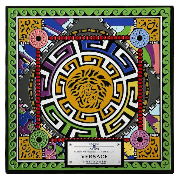 """Versace - Italy's most important fashion designers take their craft from the catwalk to the streets by way of innovative art installation """"Above the Below – Manhole Cover Art and the Wired City."""" The project, which includes the likes of Prada, Pucci, Missoni and other Italian fashion powerhouses, features 24 decorated manhole covers installed along Milan's central streets of Via Montenapoleone and Via Sant'Andrea."""