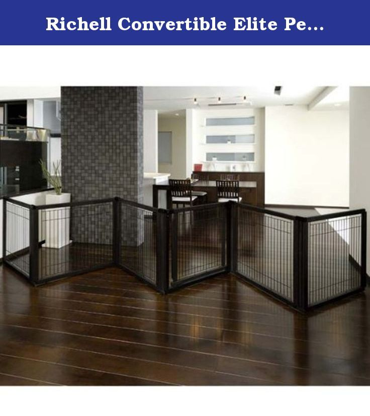 "Richell Convertible Elite Pet Gate 6 Panel Black 197.5"" x 0.8"" x 31.5"". The luxury of three pet products in one! It's specifically designed to confine your pet safely in areas with larger openings, yet fit beautifully in any home décor! The gate includes a lockable door that allows you to move freely from room to room without having to shuffle the entire unit. Each panel locks in place at 90? and 180? angles using a specially designed cap, which also provides extra stability. In addition..."