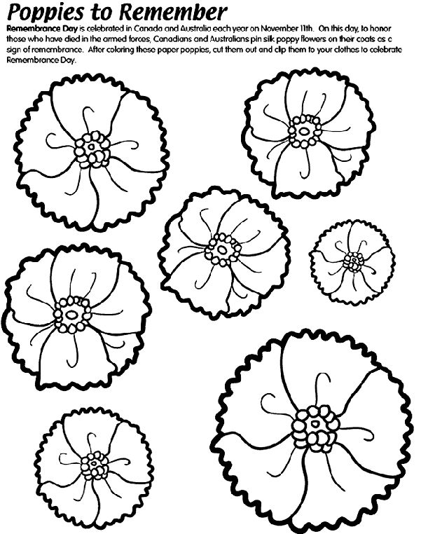 Poppies to Remember colouring page