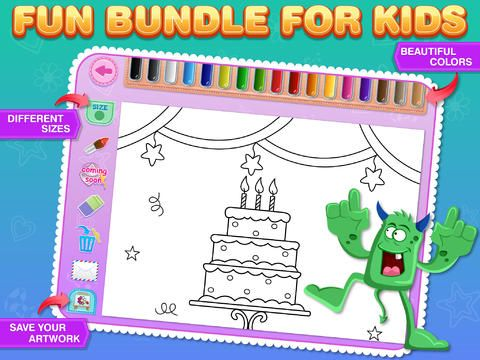 Coloring Bundle for Kids Free : Educational learning app with beautiful pages of Monsters, Pirates, Birthday and Fruits by Sachin Sachdeva