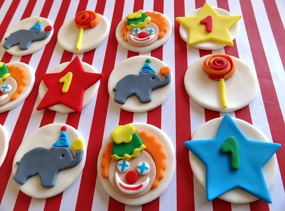 12+Fondant+Edible+Cupcake+Toppers++Circus+Theme+by+TopCakeDecors,+$29.00