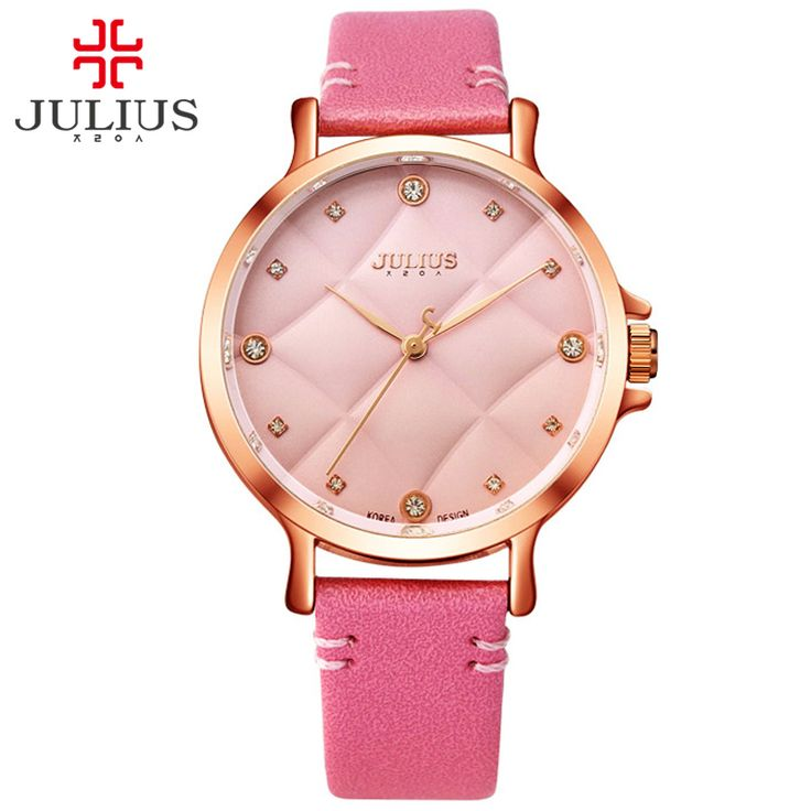 cool JULIUS 2017 New Fashion Ladies Leather Crystal Diamond Rhinestone Pink Watch Valentine Gift For Girls Beauty Dress Reloj JA-877